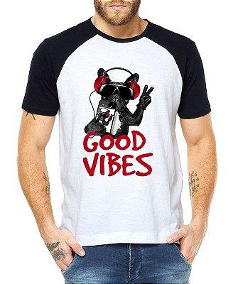 Camiseta Masculina Raglan Branca Good Vibes