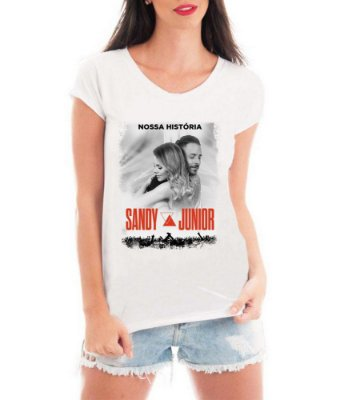 Camiseta Feminina T-shirt Branca Sandy E Júnior Nossa História Show Turnê 2019