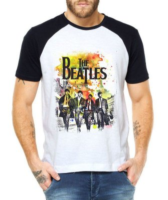 Camiseta Masculina Raglan Branca Banda The Beatles Yesterday