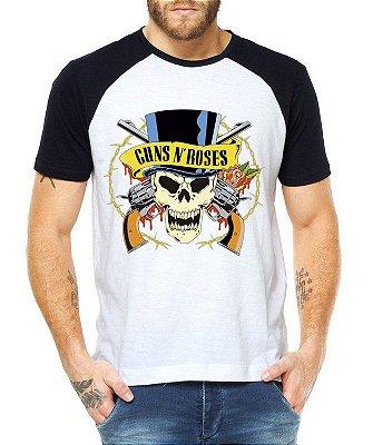 Camiseta Masculina Raglan Branca Guns N' Roses