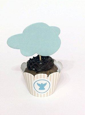 Emabalagem para mini Cupcake Batizado Azul ou Rosa - 10 UN