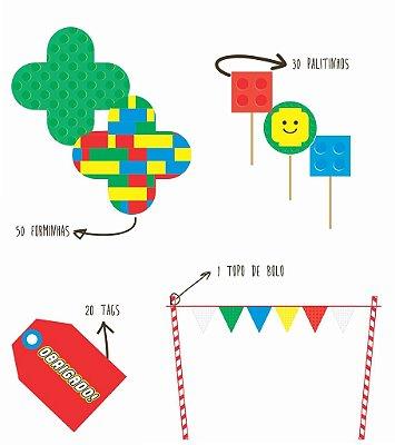 Kit Básico LEGO 101 peças  - 20 CONVIDADOS