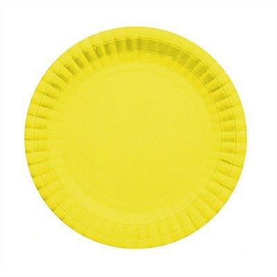 Prato Descartável Cartonado Pequeno 15cm Amarelo - 10 unidades