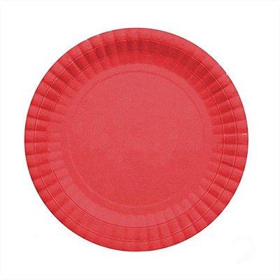 Prato Descartável Cartonado Pequeno 15cm vermelho - 10 unidades