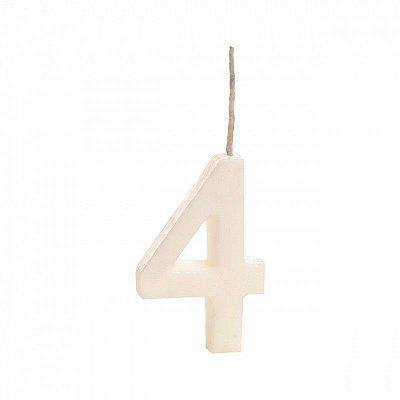 Vela número 4 - branca 1 unidade