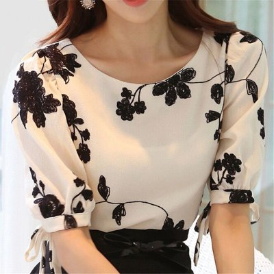 Camisa de Chiffon Black White