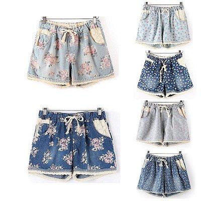 Short Jeans Estampado Feminino