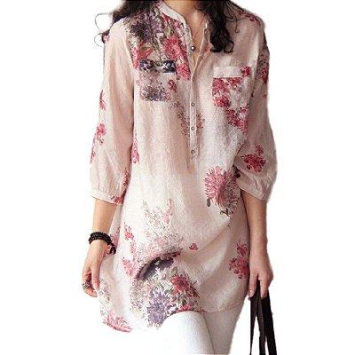 Blusa Floral Longa em Chiffon