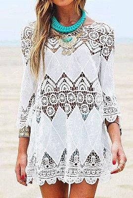 Blusa Floral Crochet Elegante