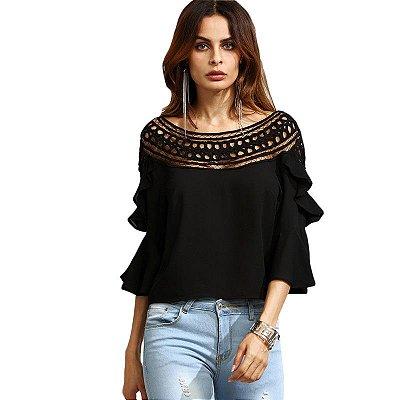 Blusa Feminina Tres Quartos com Crochet