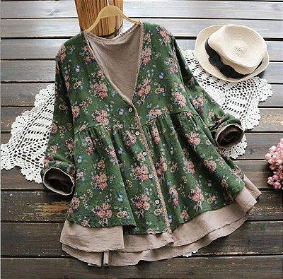 Cardigan Vintage Floral Leve
