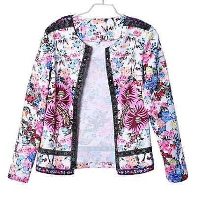Cardigan Feminino Floral Fashion