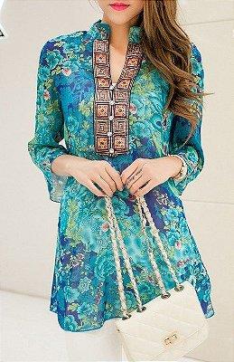 Blusa Floral Decorada