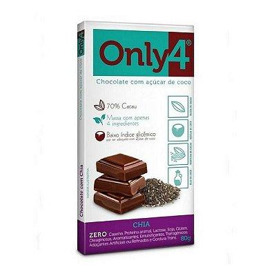 Chocolate 70% ONLY4 com açúcar de coco e Chia (80g)