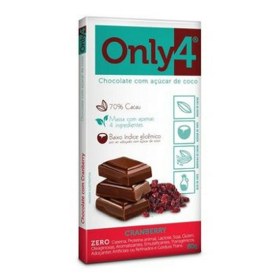 Chocolate 70% ONLY4 com açúcar de coco com Crawnberry (80g)