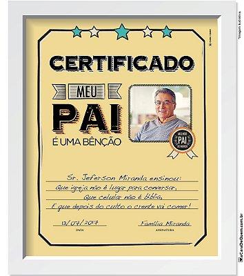Quadro Personalizado Pai - Certificado Melhor