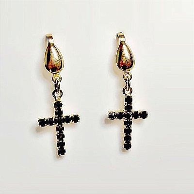 Brincos Crucifixo Preto Folheado