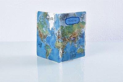 Porta passaporte vintage azul - cód 0130