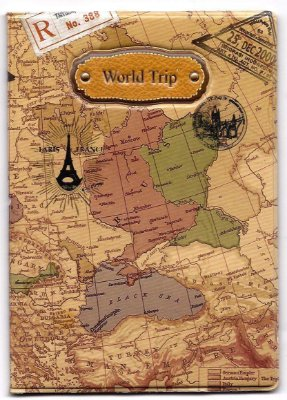 Capa Para Passaporte Mapa Mundi Vintage World Trip - marrom