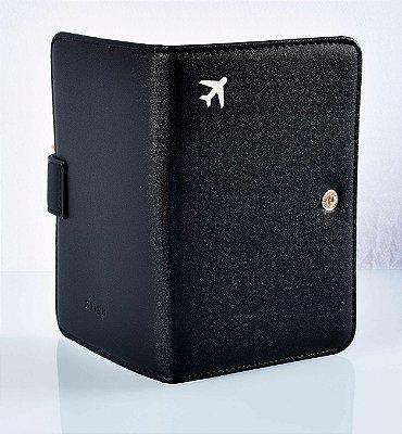 Capa de passaporte couro sintético preto