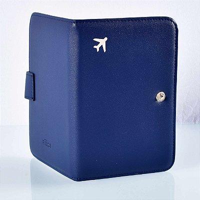 Capa de passaporte couro sintético azul