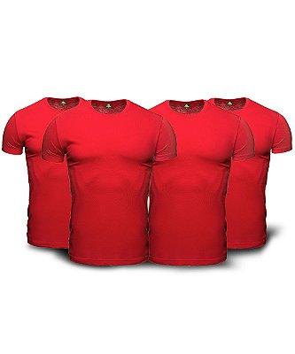 Combo 04 Camisetas Básicas Vemelhas