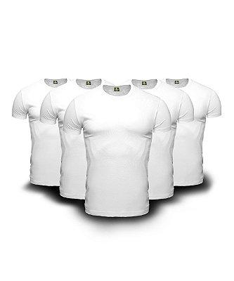 Combo 05 Camisetas Básicas Brancas