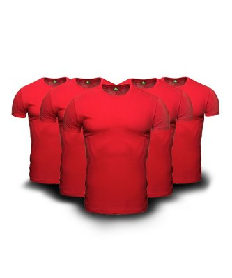 Combo 05 Camisetas Básicas Vermelhas