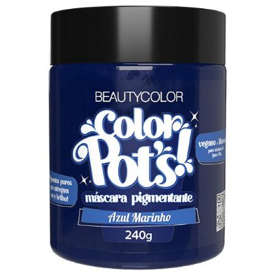 Máscara Pigmentante Color Pot's! Azul Marinho 240g - Beauty Color