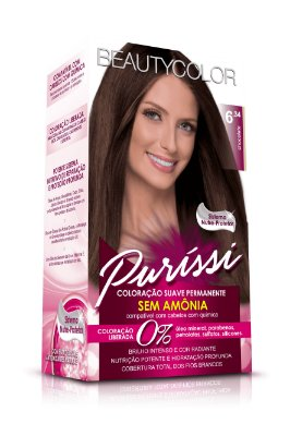 Coloração Suave Permanente Sem Amônia Puríssi - Chocolate 6.34
