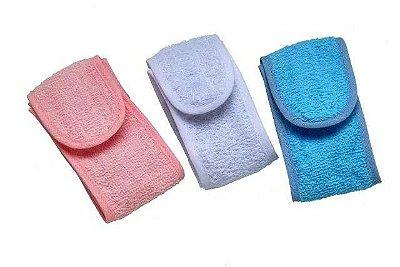 Faixa Atoalhada Com Velcro Para Cabelo - Rosa
