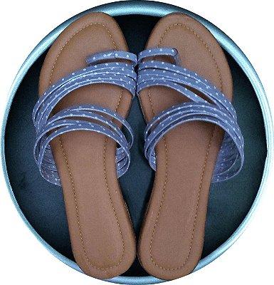 Rasteirinha Azul Tiras e Poá Branco. Super Fashion !