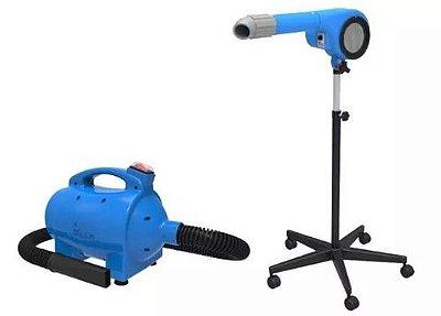 Kit Secador e Soprador para Petshop Minag Azul 127V