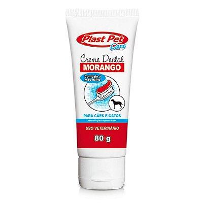 Creme Dental Para Cães e Gatos Sabor Morango Plast Pet