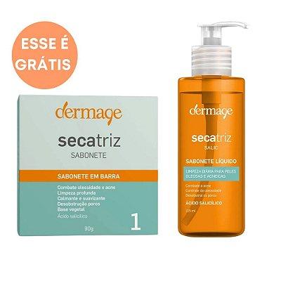 Dermage Kit Sabonete em Barra Secatriz 90g + Sabonete Líquido Facial Secatriz 115ml + Necessáire