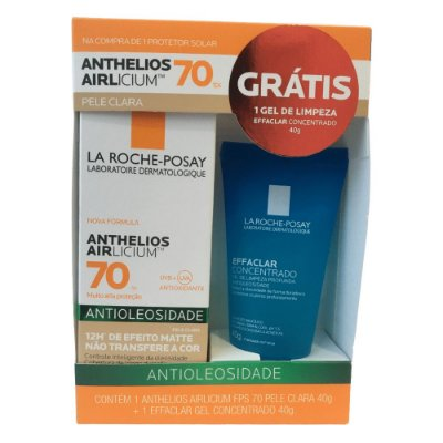 La Roche-Posay Kit Anthelios Airlicium FPS70 Pele Clara 40g + Effaclar Gel 40g