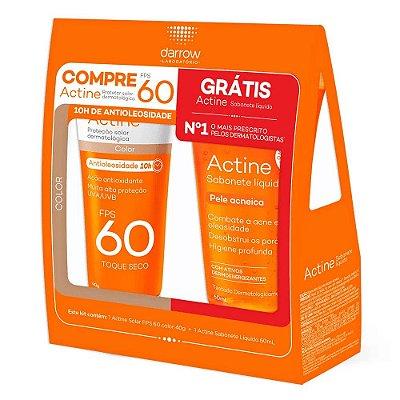 Darrow Actine Kit Protetor Solar com Cor FPS60 40g + Sabonete Líquido Facial 60g