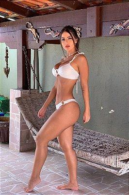 BIQUINI TOMARA QUE CAIA COM CALCINHA FECHADA ARGOLA PEROLADA OFF WHITE