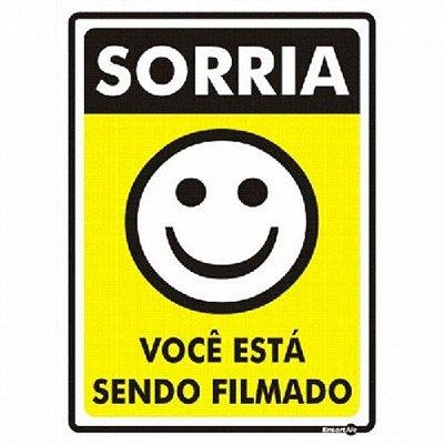 Placa Sorria Você Esta Sendo Filmado 15x20x0,80mm