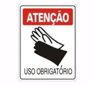 Placas Atenção Luvas Segurança Uso Obrigatório 20x30x0,80 Mm