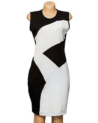 Vestido Preto E Branco Suplex Longuete