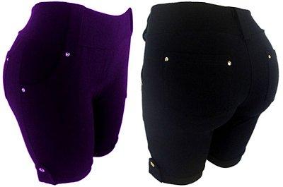 Bermuda/shorts Com 4 Bolsos E Passante De Cinto - Plus Size