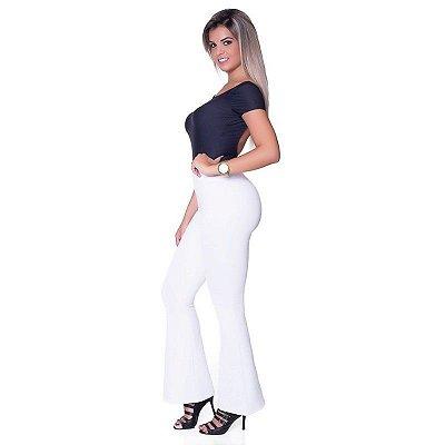 Calça Flare Branca Boca De Sino Bailarina Branco Grosso