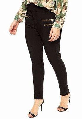 Calça Legging Montaria ziper e bolsos tecido grosso