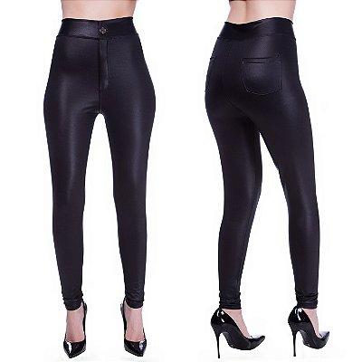 Calça Feminina Legging Disco Hot Pants cós Alto  Botão