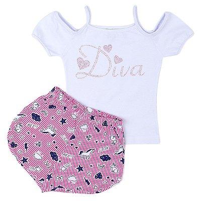677be4999e Conjunto Infantil Menina Diva Branco - Clubinho Kids