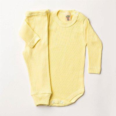 9af0f7a60f Conjunto Bebê Body e Calça Mijão Amarelo - Betyju