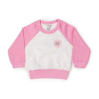 Blusão Bebê Pelúcia Rosa - Fantoni