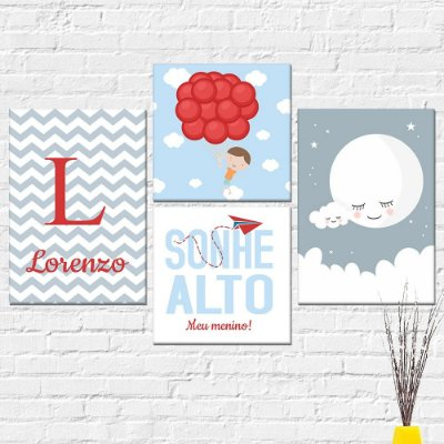 Kit Plaquinha Infantil - Sonhe Alto Menino Nome Lua