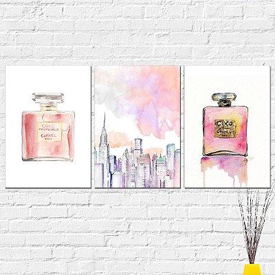 Kit Placa Decorativa - Perfume Channel Nova York